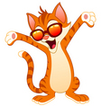 happy cat wearing sunglasses vector image