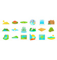 landscape icon set cartoon style vector image