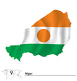 Map of Niger with flag vector image vector image