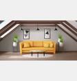 modern interior mansard lounge on attic vector image vector image
