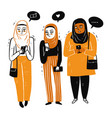 muslim women gathered together use the smart phone vector image