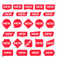 new red labels modern accent new shop promotion vector image vector image