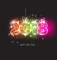 new years 2018 polygonal line and fireworks vector image vector image