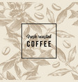pattern with coffee plant beans and type design vector image