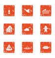 pizza party icons set grunge style vector image