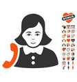 receptionist woman icon with lovely bonus vector image