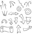 set linear black arrows vector image