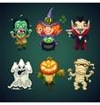 Set of Cartoon Halloween Characters vector image vector image