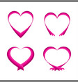 set of pink abstract hearts vector image vector image
