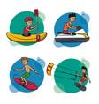 set of water sports cartoons vector image vector image
