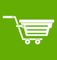 shopping basket on wheels icon green vector image vector image