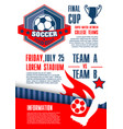 soccer sport competition banner of football match vector image vector image
