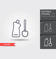 toilet brush and bottle with cleaner line icon vector image vector image