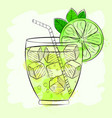 tropical cocktail background vector image vector image