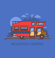 truck camper or recreational vehicle near mountain vector image vector image