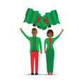 two people waving bangladesh flags vector image vector image