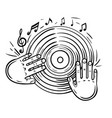 vinyl record and musical notesdisc with dj hand vector image vector image