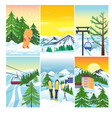 winter landscape snow and house and tree vector image