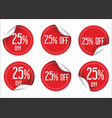 25 percent off red paper sale stickers vector image vector image
