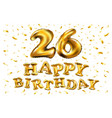 26 anniversary celebration with brilliant gold vector image vector image