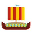 ancient ship icon flat style vector image vector image