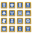 awards medals cups icons set blue square vector image vector image