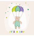 baby bear on a horse - shower or arrival card vector image vector image