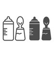 baby bottle and spoon line and glyph icon bottle vector image
