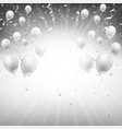 background of silver balloons and confetti vector image
