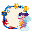 border template with little mermaid vector image vector image
