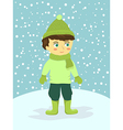 Boy Wear Green Winter Suit vector image