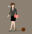 Business woman with weight burden vector image