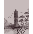 Chinese landscape with a pagoda vector image