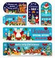 christmas sale shop dicount tags banners vector image