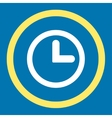 Clock flat yellow and white colors rounded vector image