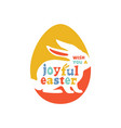 colorful joyful easter lettering vector image