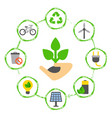 concept with eco icons hand with a green plant vector image