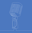 continuous line drawing retro microphone icon line vector image vector image
