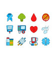 diabetic medical symbols insulin syringe and vector image vector image