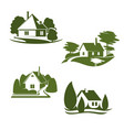 eco green house icon of ecology real estate design vector image vector image