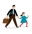 father with daughter going in school vector image vector image