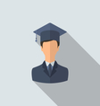 Flat icon of male graduate in graduation hat vector image