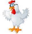 funny cartoon rooster waving with glasses vector image vector image