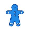 gingerbread man line icon vector image
