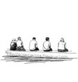 group people sitting on bench in line keep vector image vector image