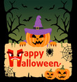 halloween background card with pumpkin vector image vector image