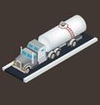 isometric white tanker truck vector image vector image
