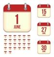 June calendar icons vector image vector image