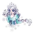 kawaii snow queen vector image vector image