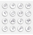 linear icons holidays on white stickers vector image